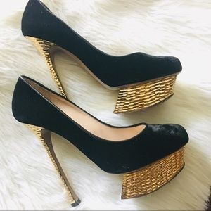 Nicholas Kirkwood Gold and Black Velvet Heels